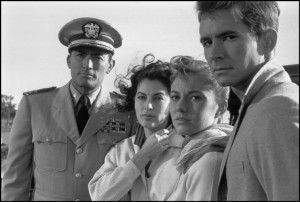 """AUSTRALIA. 1959. From left to right, American actors Gregory PECK, Ava GARDNER, Donna ANDREWS, Anthony PERKINS during the filming of """"On the Beach"""" by Stanley KRAMER. 1959."""